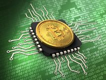 3d bitcoin with cpu. 3d illustration of bitcoin over green background with cpu Royalty Free Stock Photography