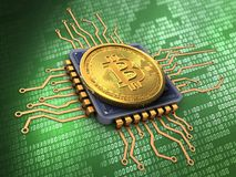 3d bitcoin with cpu. 3d illustration of bitcoin over green background with cpu Royalty Free Stock Photos