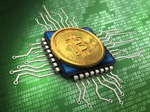 3d bitcoin with cpu. 3d illustration of bitcoin over green background with cpu Stock Images