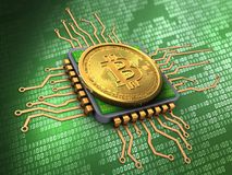 3d bitcoin with cpu. 3d illustration of bitcoin over green background with cpu Stock Photography
