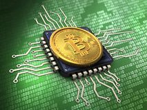 3d bitcoin with cpu. 3d illustration of bitcoin over green background with cpu Stock Photo
