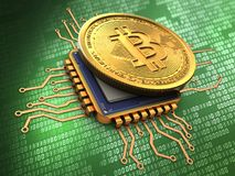 3d bitcoin with cpu gold Royalty Free Stock Image