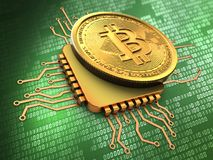 3d bitcoin with cpu gold. 3d illustration of bitcoin over green background with cpu gold Royalty Free Stock Image