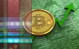 3d bitcoin. 3d illustration of bitcoin over green binary background with Royalty Free Stock Photos