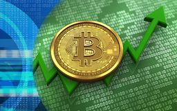 3d bitcoin. 3d illustration of bitcoin over green binary background with Stock Photo