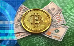 3d bitcoin banknotes. 3d illustration of bitcoin over green binary background with banknotes Stock Images