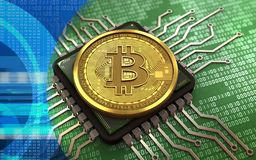 3d bitcoin computer chip. 3d illustration of bitcoin over green binary background with computer chip Stock Images