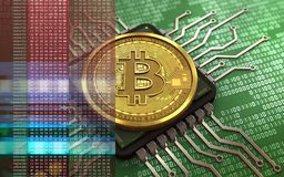 3d bitcoin computer chip. 3d illustration of bitcoin over green binary background with computer chip Stock Photos