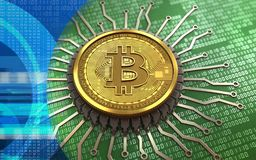 3d bitcoin integrated chip. 3d illustration of bitcoin over green binary background with integrated chip Stock Image