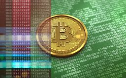 3d bitcoin blank. 3d illustration of bitcoin over green binary background with red hex Royalty Free Stock Photo