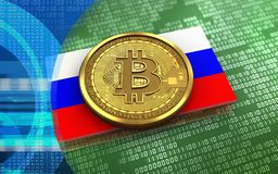 3d bitcoin Russia flag. 3d illustration of bitcoin over green binary background with Russia flag Royalty Free Stock Photos