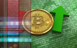 3d bitcoin up and down arrows. 3d illustration of bitcoin over green binary background with up and down arrows Royalty Free Stock Images