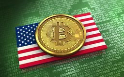 3d bitcoin USA flag. 3d illustration of bitcoin over green binary background with USA flag Stock Images