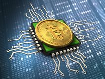 3d bitcoin with cpu. 3d illustration of bitcoin over hexadecimal background with cpu Royalty Free Stock Image
