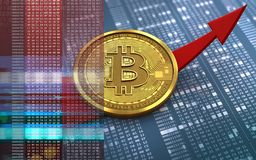 3d bitcoin up arrow. 3d illustration of bitcoin over hexadecimal background with up arrow Royalty Free Stock Image