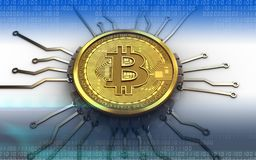 3d bitcoin chip schema. 3d illustration of bitcoin over white background with chip schema Stock Photo