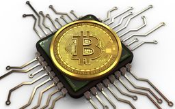 3d bitcoin computer chip. 3d illustration of bitcoin over white background with computer chip Stock Photos