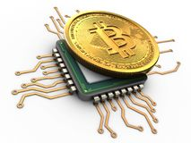 3d bitcoin with cpu. 3d illustration of bitcoin over white background with cpu Royalty Free Stock Images