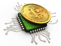 3d bitcoin with cpu. 3d illustration of bitcoin over white background with cpu Stock Image