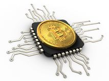 3d bitcoin with cpu. 3d illustration of bitcoin over white background with cpu Stock Photo