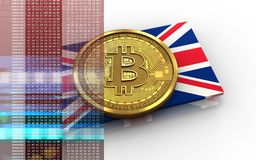 3d bitcoin UK flag. 3d illustration of bitcoin over white background with UK flag Royalty Free Stock Photography