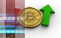3d bitcoin up and down arrows. 3d illustration of bitcoin over white background with up and down arrows Royalty Free Stock Photos
