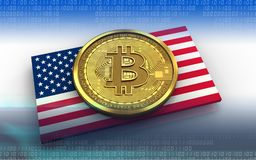 3d bitcoin USA flag. 3d illustration of bitcoin over white background with USA flag Stock Images