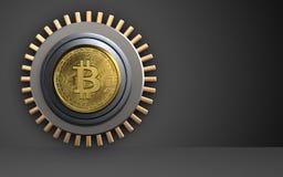 3d safe bitcoin safe. 3d illustration of bitcoin safe  over black background Royalty Free Stock Photography