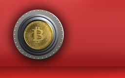 3d blank bitcoin safe. 3d illustration of bitcoin safe  over red background Royalty Free Stock Image