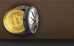 3d bitcoin over bricks. 3d illustration of bitcoin storage over bricks background Stock Photo