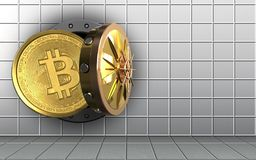 3d bitcoin over white wall. 3d illustration of bitcoin storage over white wall background Royalty Free Stock Photos