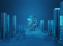 3D illustration of bitcoin symbol rising from modern city on the waterfront. Business city bitcoin 3D illustration of bitcoin symbol rising from modern city on Royalty Free Stock Photos
