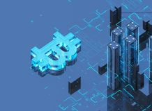 3D illustration of bitcoin symbol rising from modern city on the waterfront. Business city bitcoin 3D illustration of bitcoin symbol rising from modern city on Stock Images
