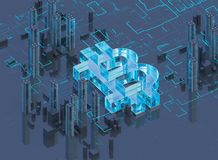 3D illustration of bitcoin symbol rising from modern city on the waterfront. Business city bitcoin 3D illustration of bitcoin symbol rising from modern city on Stock Photo