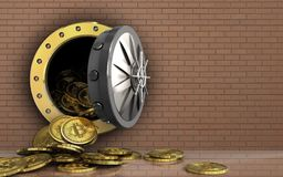 3d bitcoins heap over bricks wall Royalty Free Stock Photography