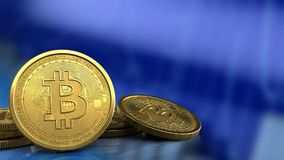 3d blank. 3d illustration of bitcoins over blue graph background Royalty Free Stock Images