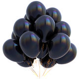 3D illustration of black balloons birthday party decoration Stock Photos