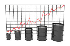 3d illustration: Black barrels of oil graph chart stock market  with red line arrow on a grid.  Petroleum business, black gold, ga Stock Photo