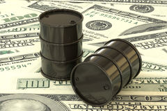 3d illustration: Black barrels of oil lie on the background of dollar money. Petroleum business, black gold, gasoline production. Purchase sale, auction, stock Royalty Free Stock Images
