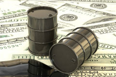 3d illustration: Black barrels of oil lie on the background of dollar money. Petroleum business, black gold, gasoline production,. Puddle. Purchase sale Stock Images