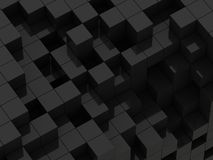 3d illustration of black cubes. Abstract of 3d black cubes, blocks background Stock Photos