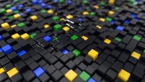 3d illustration of black cubes. 3d illustration of black and colored cubes landscape Stock Image