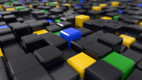 3d illustration of black cubes. 3d illustration of black and colored cubes landscape Royalty Free Stock Photography