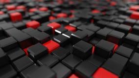 3d illustration of black cubes. 3d illustration of black and red cubes landscape Royalty Free Stock Image
