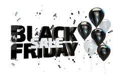 3D illustration of Black friday sale poster. Sale banner with balloons and confetti. Black friday sale poster, banner with balloons and confetti isolated on Stock Photography