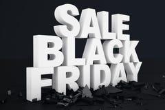 3D Illustration Black Friday, Verkaufsmitteilung für Geschäft Einkaufsspeicherfahne des Geschäfts für Black Friday Text 3d im Sch vektor abbildung