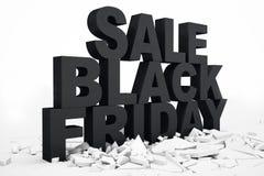 3D Illustration Black Friday, Verkaufsmitteilung für Geschäft Einkaufsspeicherfahne des Geschäfts für Black Friday Text 3d im Sch lizenzfreie abbildung