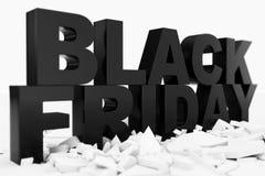 3D Illustration Black Friday, Verkaufsmitteilung für Geschäft Einkaufsspeicherfahne des Geschäfts für Black Friday Text 3d im Sch stock abbildung
