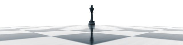 Black king on a chess board. 3d illustration of a black king on a chess board Stock Photos