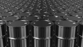 3D illustration of Black Metal Oil Barrels Background. Royalty Free Stock Photography